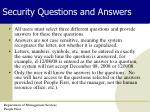 security questions and answers