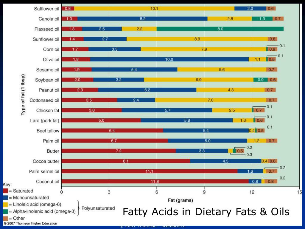 Fatty Acids in Dietary Fats & Oils