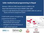 safer motherhood programming in nepal