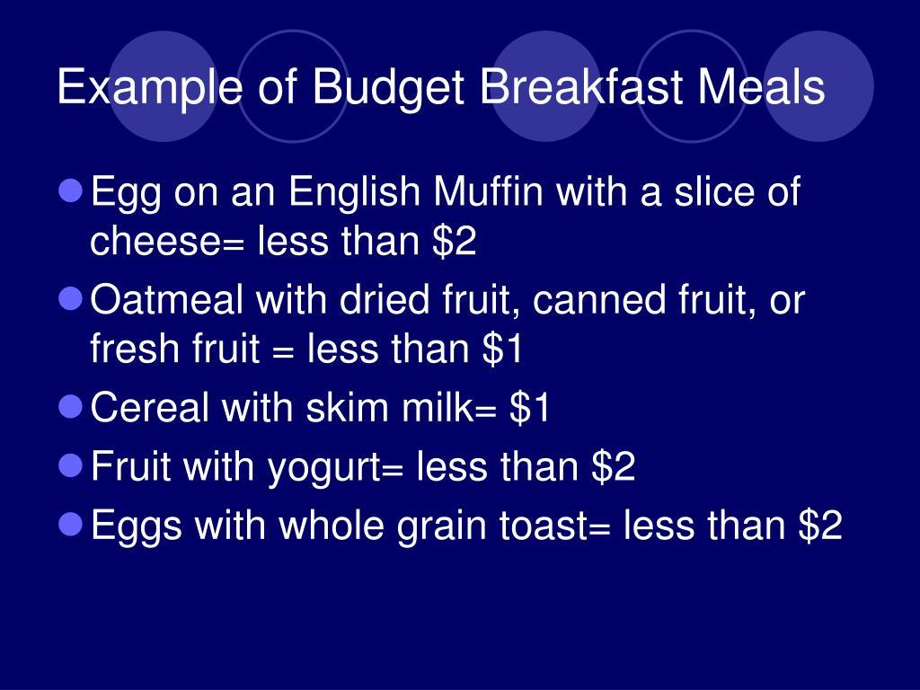 Example of Budget Breakfast Meals