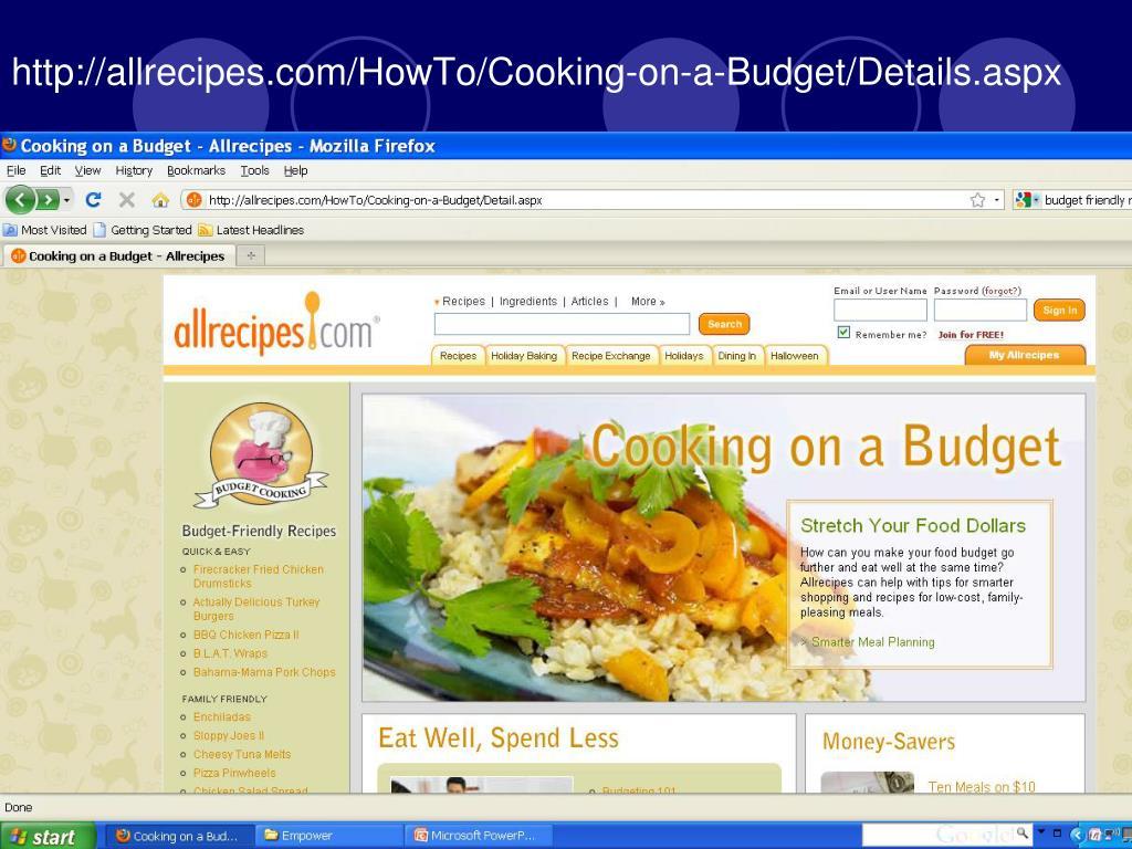 http://allrecipes.com/HowTo/Cooking-on-a-Budget/Details.aspx