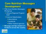 core nutrition messages development