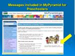 messages included in mypyramid for preschoolers