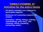 family fitness a activities for the entire family