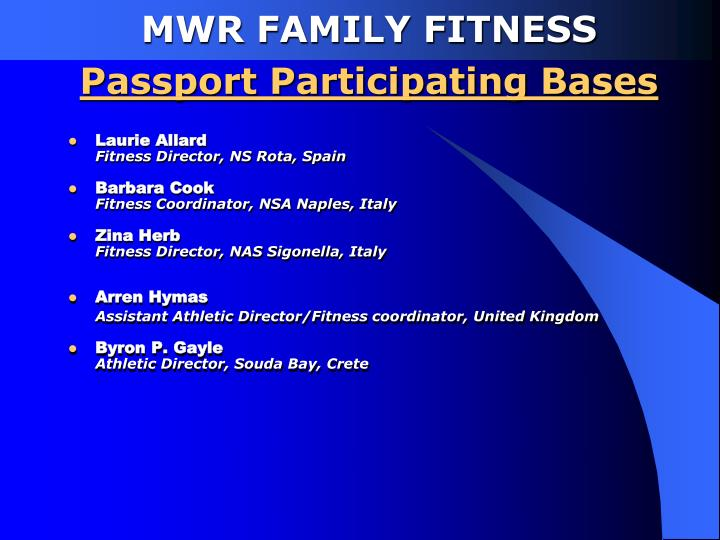 Mwr family fitness passport participating bases