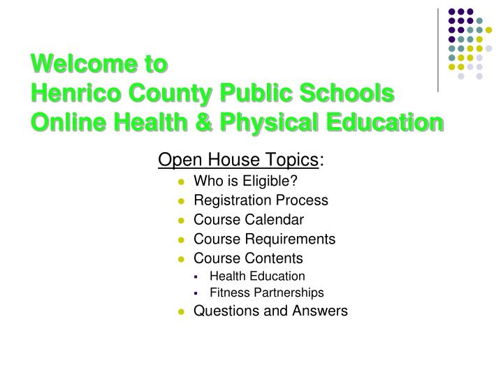 Welcome to henrico county public schools online health physical education