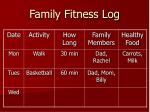 family fitness log