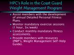 hpc s role in the coast guard weight management program