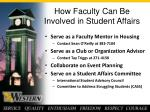 how faculty can be involved in student affairs