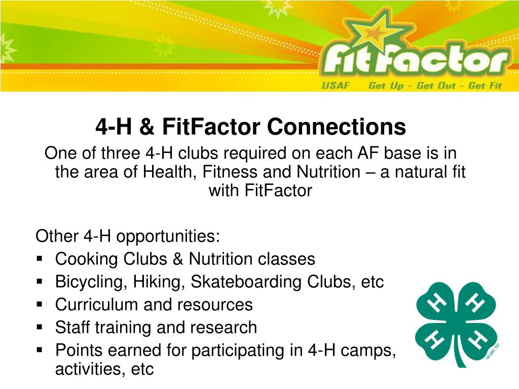 4-H & FitFactor Connections