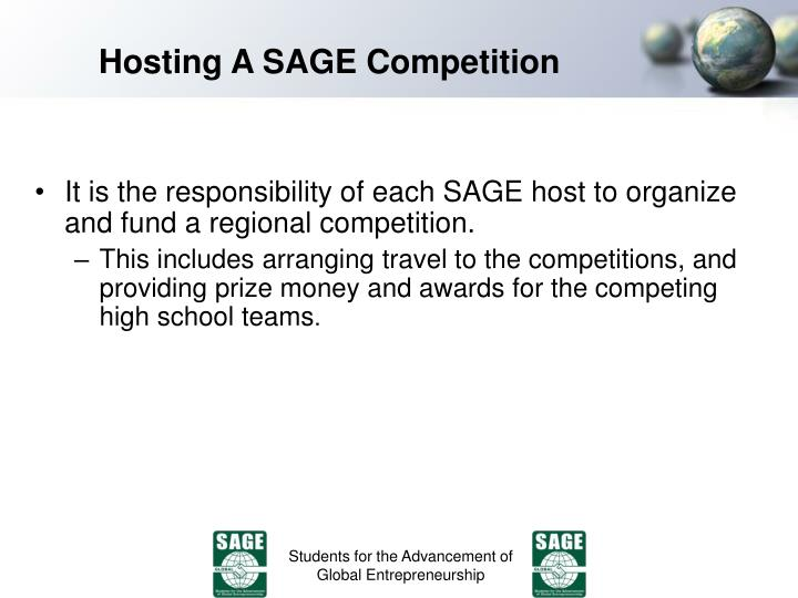 Hosting A SAGE Competition