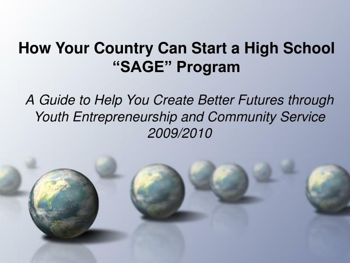 how your country can start a high school sage program n.