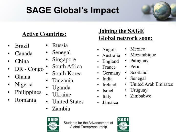 SAGE Global's Impact