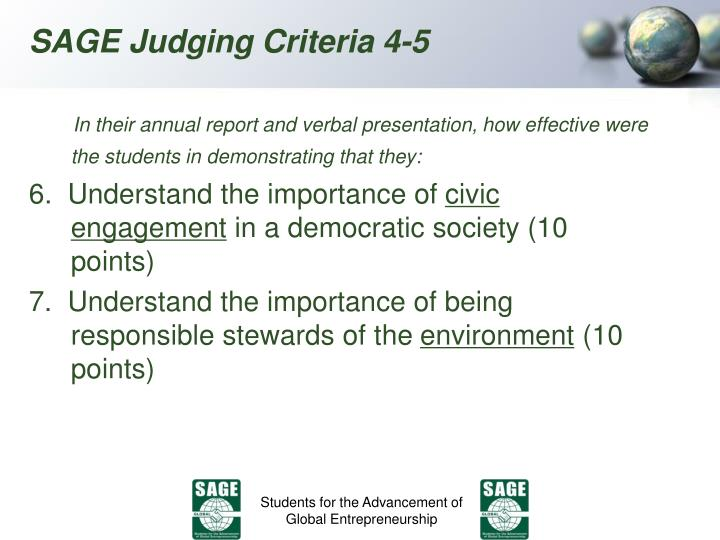 In their annual report and verbal presentation, how effective were the students in demonstrating that they: