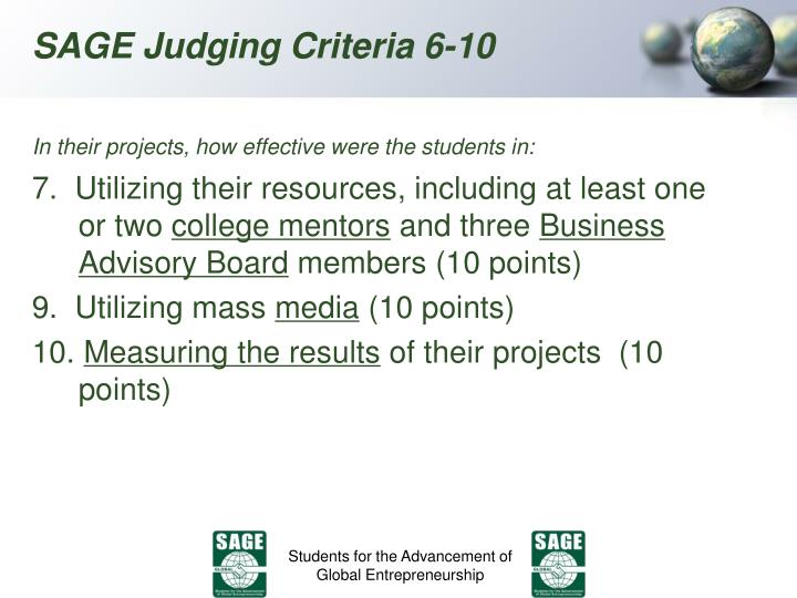 In their projects, how effective were the students in:
