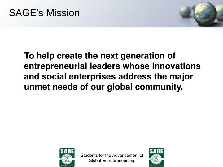 Sage s mission