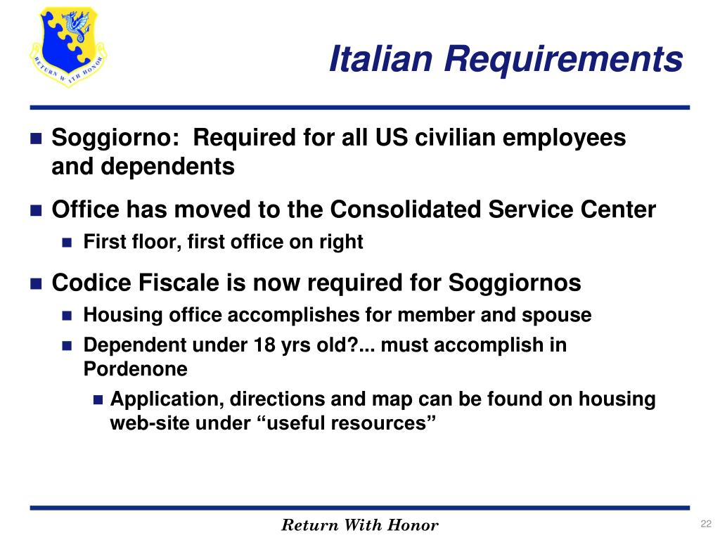 Italian Requirements