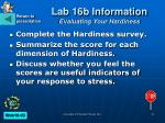 lab 16b information evaluating your hardiness
