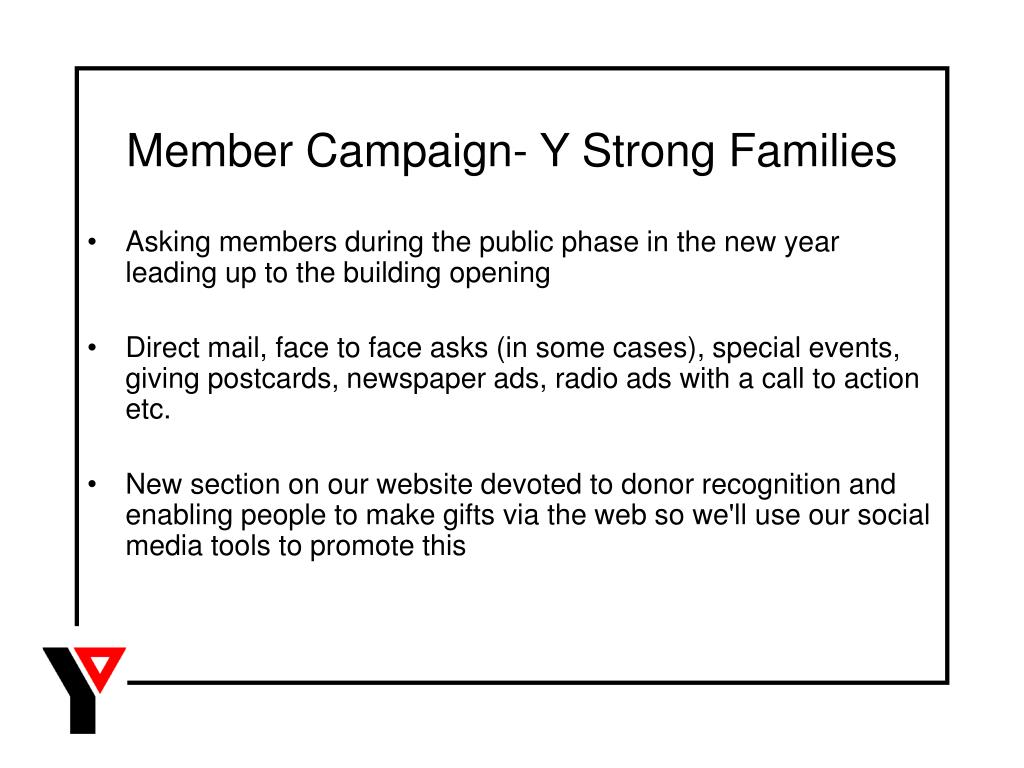 Member Campaign- Y Strong Families