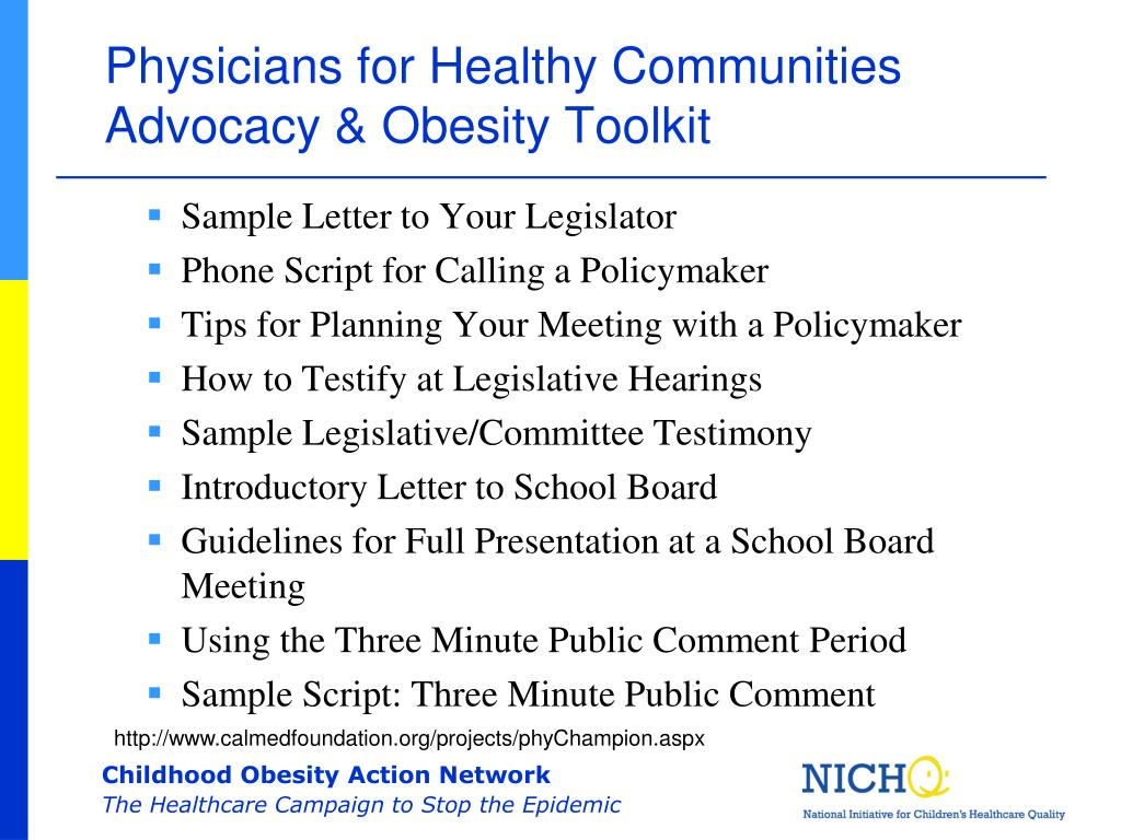 Physicians for Healthy Communities Advocacy & Obesity Toolkit