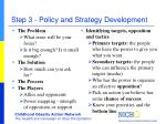 step 3 policy and strategy development