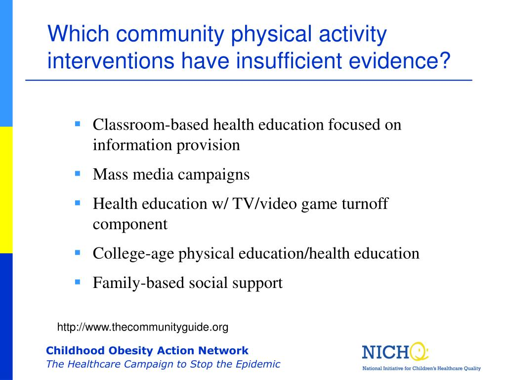 Which community physical activity interventions have insufficient evidence?
