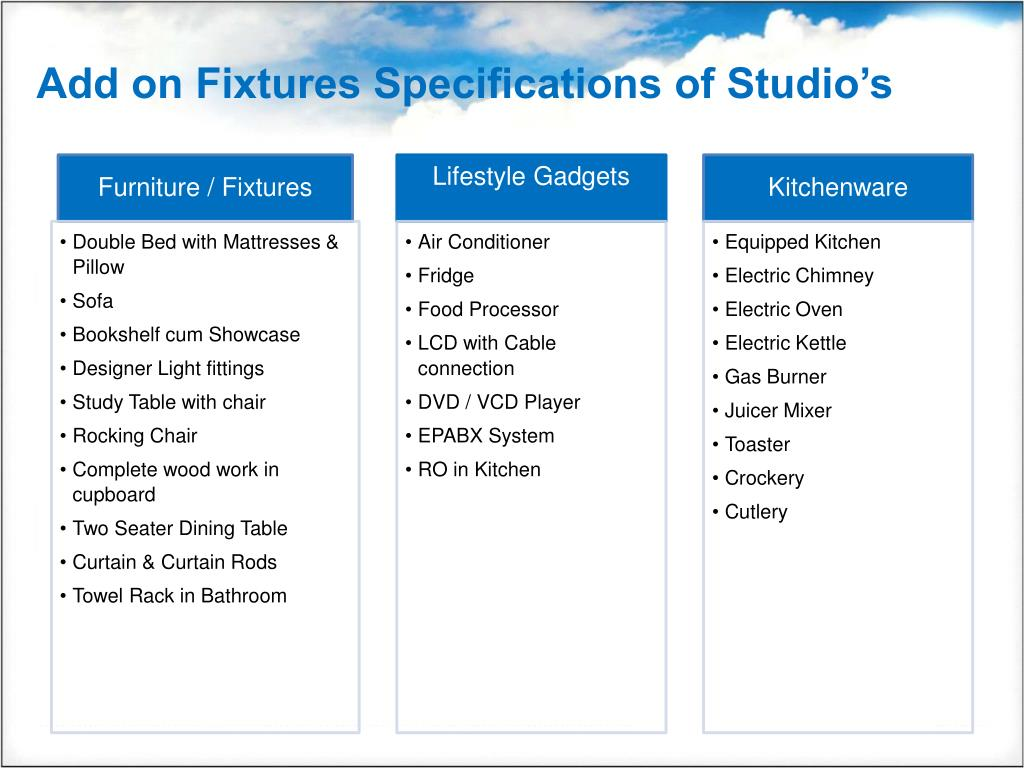 Add on Fixtures Specifications of Studio's