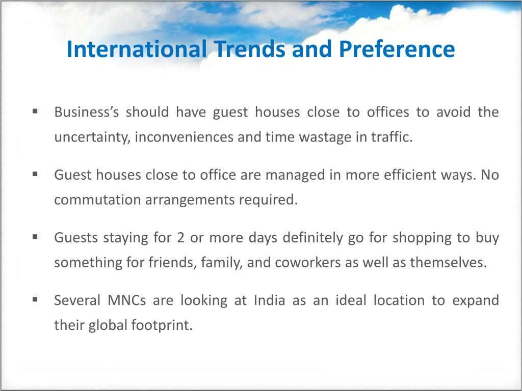 International Trends and Preference