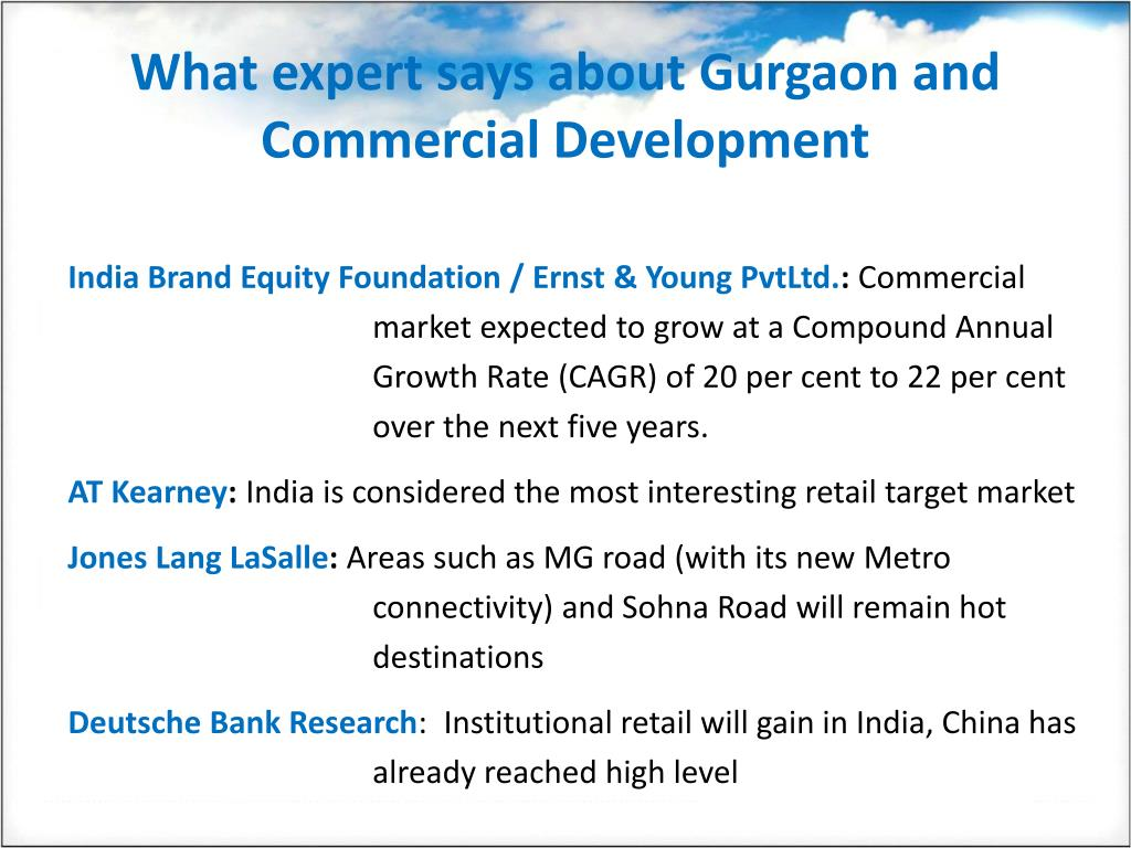 What expert says about Gurgaon and Commercial Development