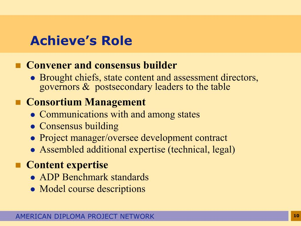 Achieve's Role