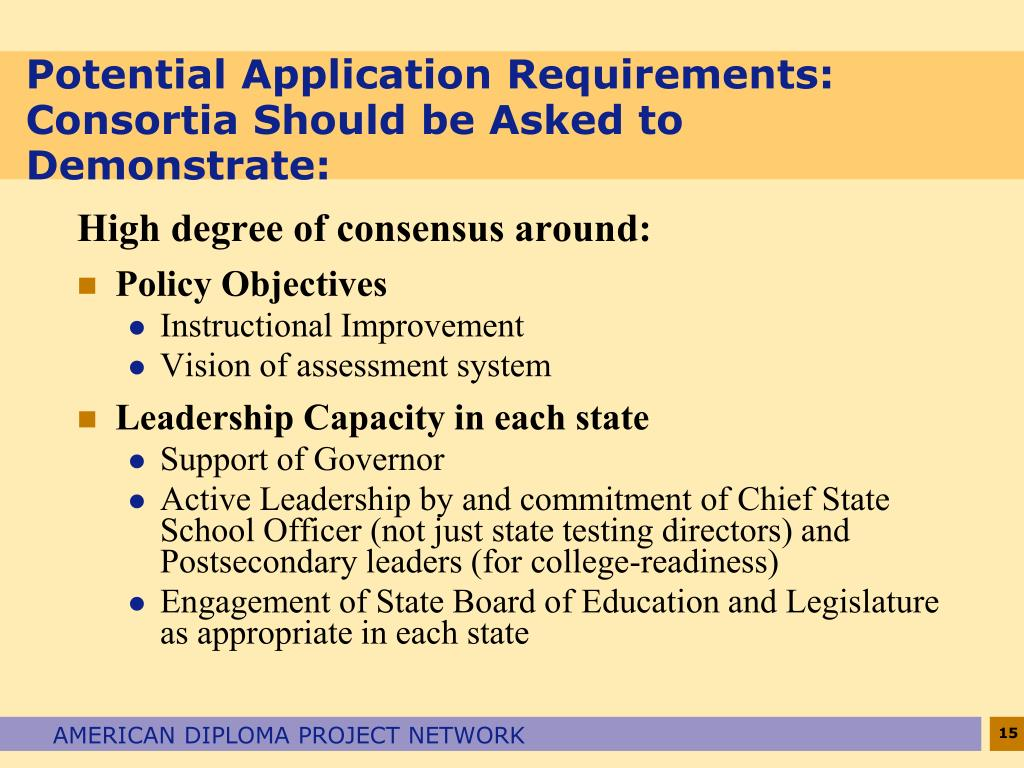 Potential Application Requirements:  Consortia Should be Asked to Demonstrate: