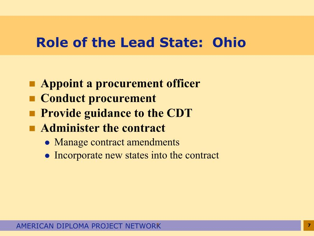 Role of the Lead State:  Ohio