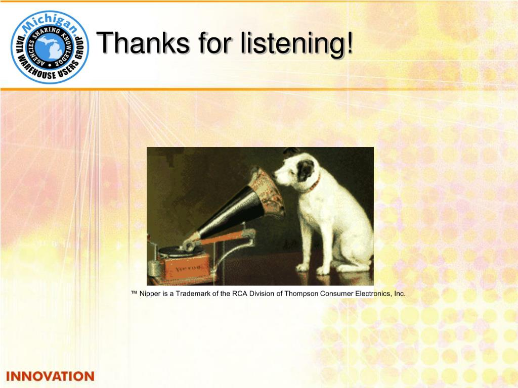™ Nipper is a Trademark of the RCA Division of Thompson Consumer Electronics, Inc.