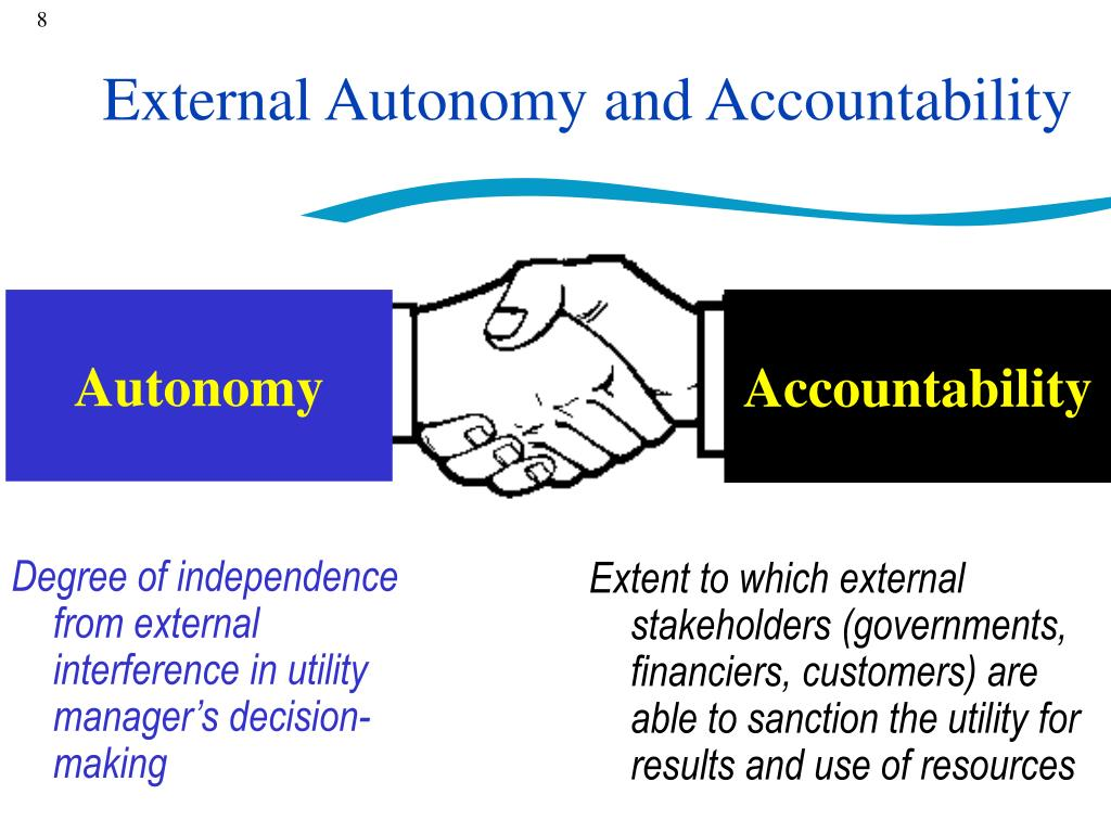 Degree of independence from external interference in utility manager's decision-making