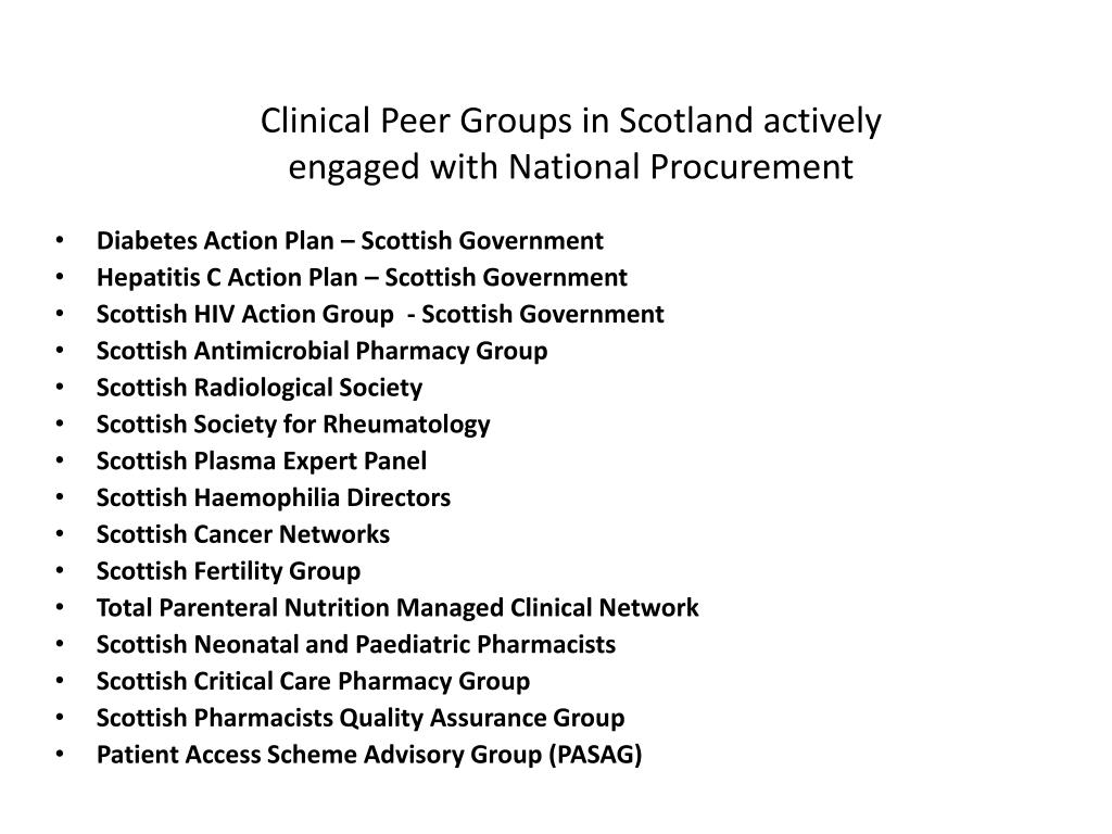 Clinical Peer Groups in Scotland actively