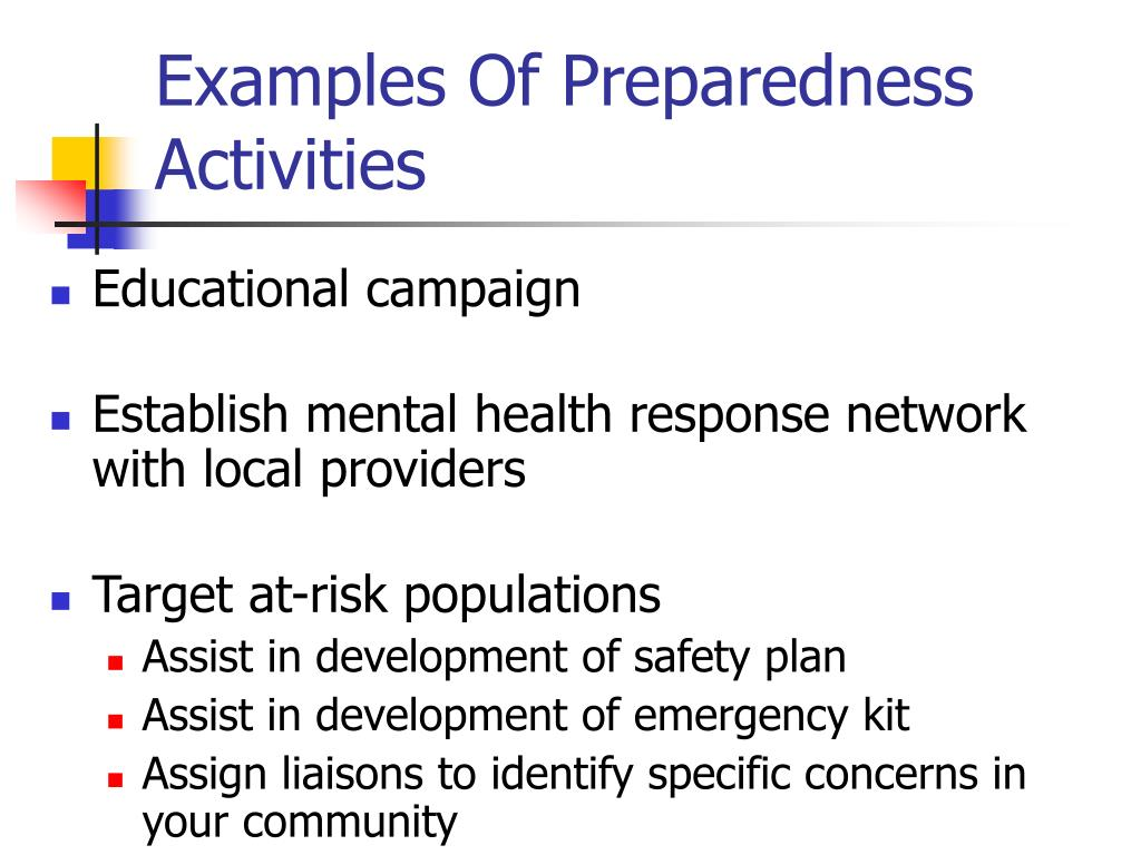 Examples Of Preparedness Activities