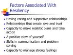 factors associated with resiliency
