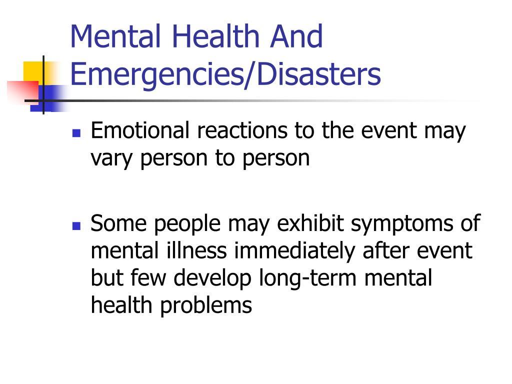 Mental Health And Emergencies/Disasters