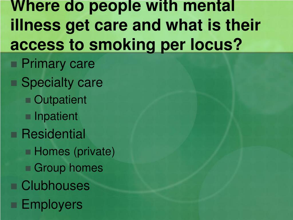 Where do people with mental illness get care and what is their access to smoking per locus?