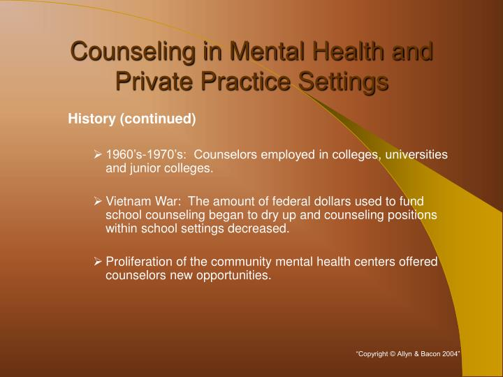 Counseling in mental health and private practice settings2