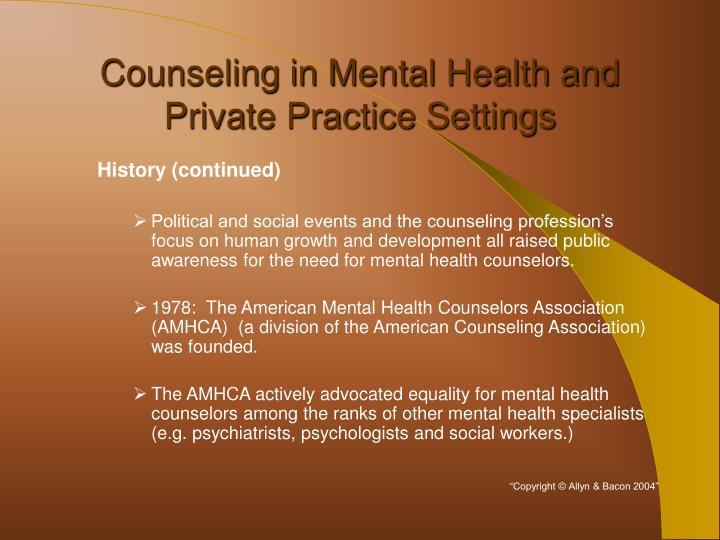 Counseling in mental health and private practice settings3