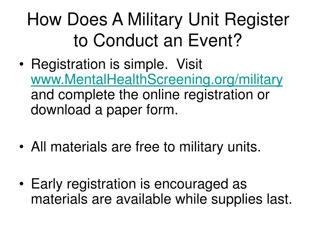 How Does A Military Unit Register