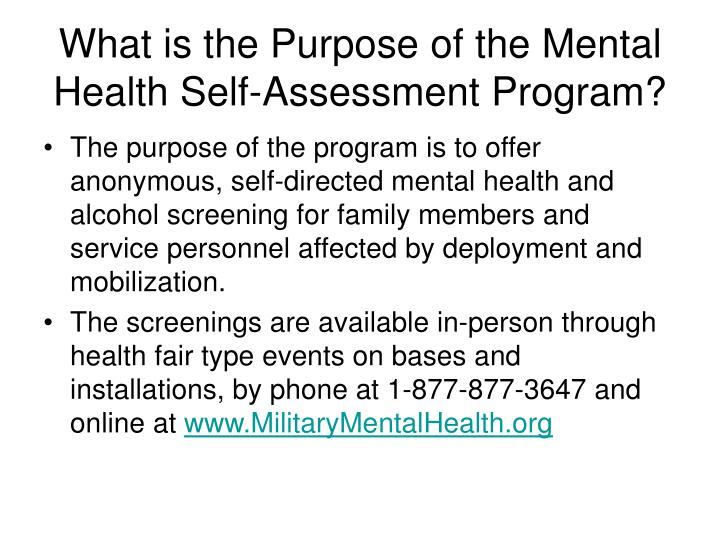 What is the purpose of the mental health self assessment program
