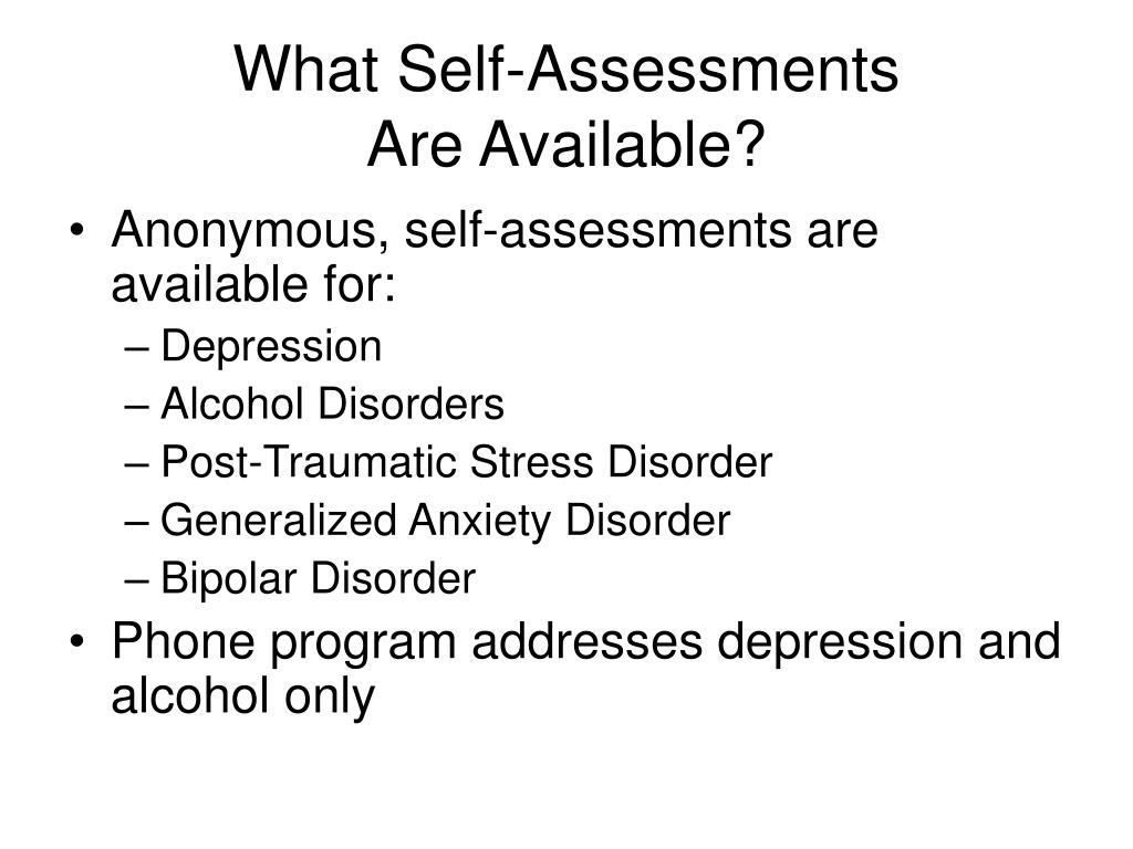 What Self-Assessments