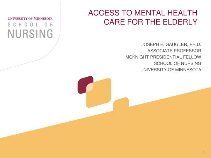 access to mental health care for the elderly n.