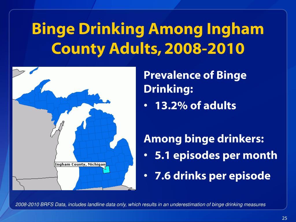Binge Drinking Among Ingham County Adults, 2008-2010