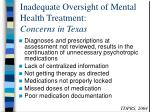 inadequate oversight of mental health treatment concerns in texas