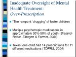 inadequate oversight of mental health treatment over prescription