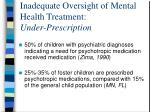 inadequate oversight of mental health treatment under prescription