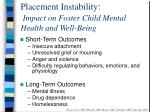 placement instability impact on foster child mental health and well being